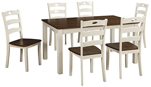Ashley Furniture Signature Design - Woodanville Dining Room Table Set - Set of 7 - Dining Table and 6 Chairs - Casual - Cream/Brown Finish