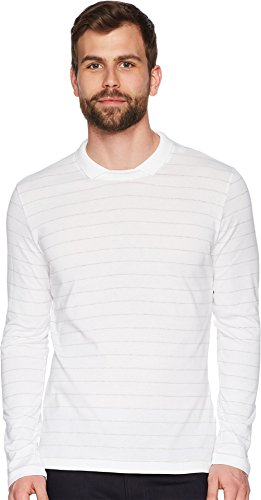 Eleventy Men's Long Sleeve Johnny Collar Polo White/Grey Medium Long Sleeve Johnny Collar Shirt