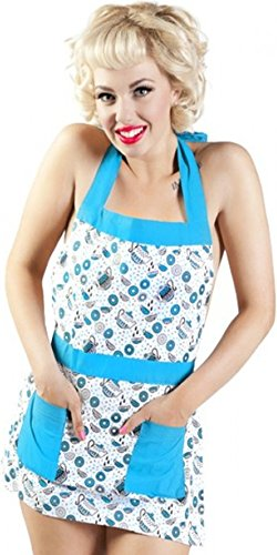 (Teal & White Tea and Donuts Apron from Sourpuss Clothing,One Size )