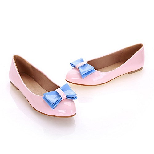Pull No Solid Women's On Closed Toe Round Leather Flats Pink Patent Heel Shoes WeiPoot pzFwRBqp