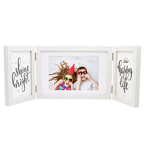 Afuly White Picture Frame 5x7 4x6 Hinged Folding Triple Photo Frames Desk Collage Three Opening for Tabletop