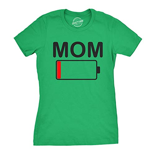 - Womens Mom Battery Low Funny Empty Tired Parenting Mother T Shirt (Green) - S