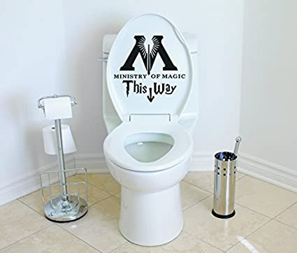 Harry Potter Bathroom Accessories | Ministry Of Magic This Way Harry Potter Toilet Decor Wall Decal Vinyl Sticker W25 10 X10 Message For Color