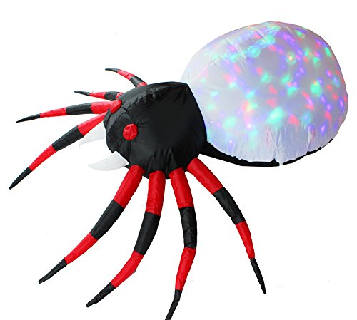 Halloween Yard Lights (Inflatejoy Halloween Inflatable Blow-up Spider with Kaleidoscope Light Inside - 4 Ft Wide)