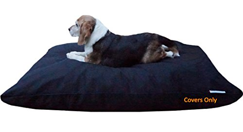 Do It Yourself DIY Pet Bed Pillow Duvet Canvas Cover + Waterproof Internal case for Dog / Cat at Large 48'X29' black color - Covers only