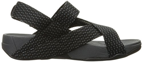 FitFlop Mens Sling Weave Sandal Flip Flop Black/Dark Shadow mXNGO