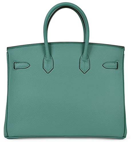 Women's Leather Handbags Padlock Genuine Classic Tote Aqua fqZfgS