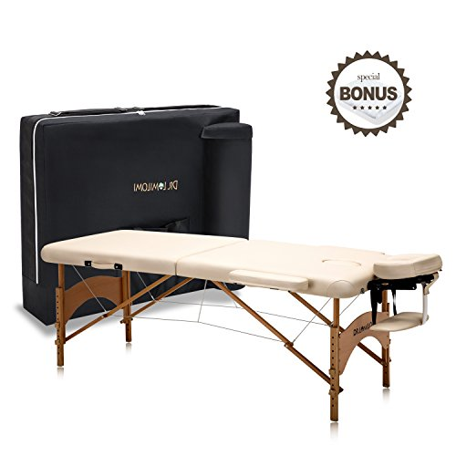Dr.lomilomi Small Professional Hardwood Portable Massage Table Spa Bed 005 Package (005-Small Table, Vanilla)