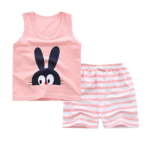 Baby Kids Girl Boys Sleeveless Cartoon Bunny Cat Banana Cake Print Vest Tops Shorts Casual Set,6M-4Y,SIN vimklo Pink