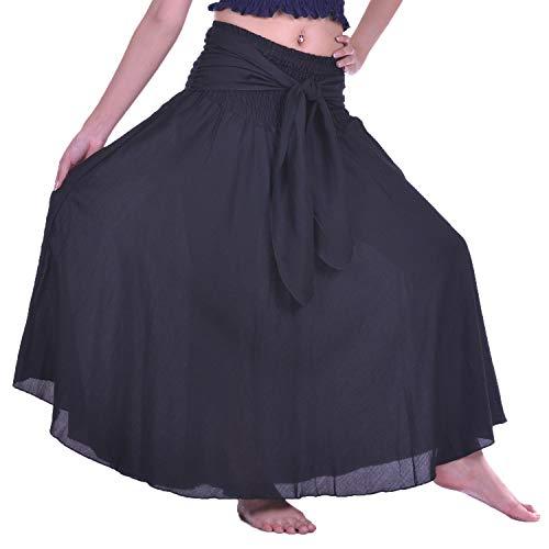 hippie Nero Lofbaz Tinta bohemian Gonna Unita Gypsy Boho lunga Donna lunga Dress q1r1xPXw