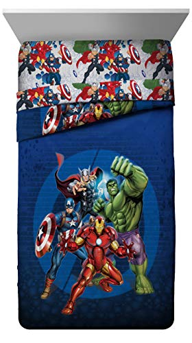 Marvel Avengers Blue Circle Twin/Full Comforter - Super Soft Kids Reversible Bedding features Iron Man, Hulk, Captain America, and Thor - Fade Resistant Polyester Fill (Official Marvel Product) ()