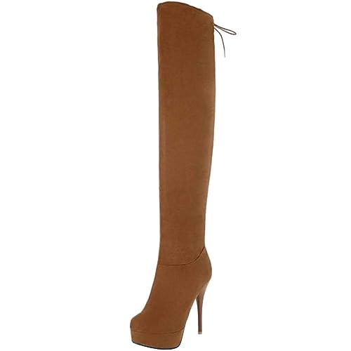 d8cb1118552c8 RAZAMAZA Mujer sin Cordones Botas Largas Plataforma  Amazon.es  Zapatos y  complementos