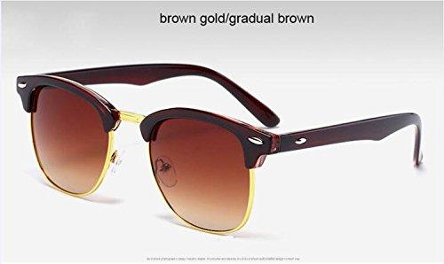 calidad Pardo clásico Remache sol Oro 3016 metal de gafas ZHANGYUSEN de alta de Negro Gafas sol medio oro3016 de Marrón de Oro Moda de de hombre espejo qUIOS