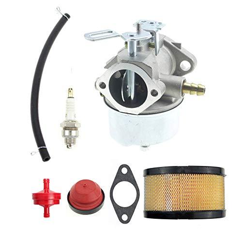 ANTO 632370A Carburetor Carb for Tecumseh 632370 632110 HM100 HMSK100 HMSK90 Snow Blower with Air Filter Spark Plug Fuel Hose Kit (Carburetor Hose Kit)