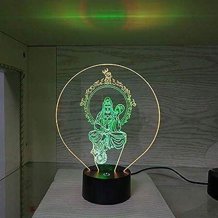 Illusion 3D Lampe De Nuit Bouddha Figure, 7 Couleurs