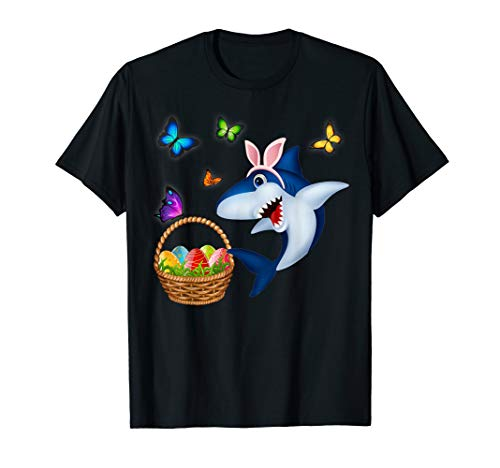 Funny Easter Shark Mommy Baby Daddy Easter Bunny T-shirt