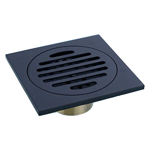Black Square Grate - 4 inch Square Shower Drain with Removable Cover Grate, Brass Anti Clogging and Odor Point Floor Drain Assembly with Hair Catcher Strainer, Matte Black