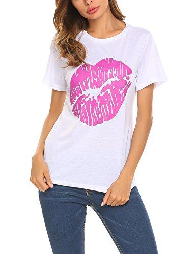Cosclotre Cute Lip Print Valentines Day Kisses T Shirt For Ladies (Kiss Ladies Tee)