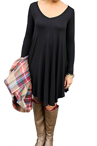 POSESHE Women's Long Sleeve Casual Loose T-Shirt Dress
