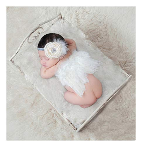 Newborn Photography Props with Angel Wings Chic Flower Lace Headband for Baby Girl Boy Toddler Camera Photo Accessories Posing Backgroud Cute Cupid Costume Outfit Children's Day Party Birthday Gift -