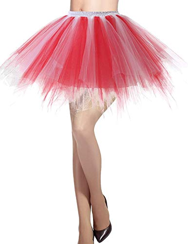 MizHome Womens Red White Tutu Skirt Layered Tulle Skirt Adult Halloween Costumes