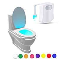 Geekercity LED Motion Sensor Activated Toilet Nightlight - Fits ANY Toilet 8 Colors in One Light - Battery Operated - Energy Saving