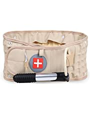 Tillbaka Decompression Belt Lumbar Support Uppblåsbara Lumbar Traction Belt Khaki Spinal Back Belt, Uppblåsbara Lumbar Traction Belt