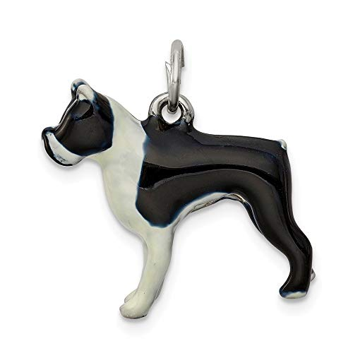 925 Sterling Silver Enameled Boston Terrier Pendant Charm Necklace Animal Dog Fine Jewelry Gifts For Women For Her