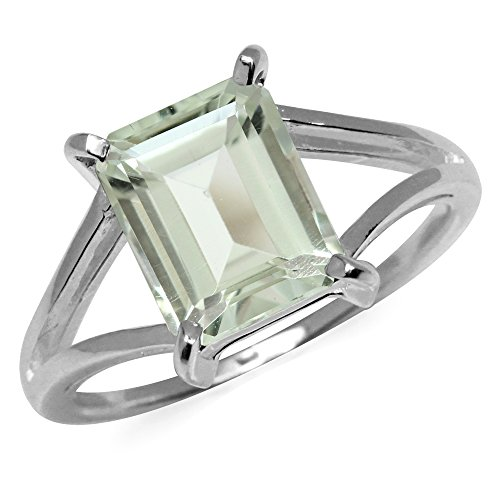 Silvershake 3.24ct. Natural Octagon Shape Green Amethyst 925 Sterling Silver Solitaire Ring