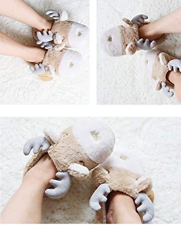 Femme Animaux Wapiti Peluche D'hiver En Chaudes Pantoufles De Noël Home Couple Shoes Y67wEqd