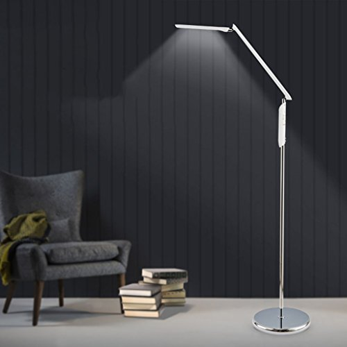 HN Lighting Modern Touch LED Regular Floor Lamp for Living Room Bedroom Eye Protection Piano Lamp (stepless Adjustable Light, Color) (Color : Silver)
