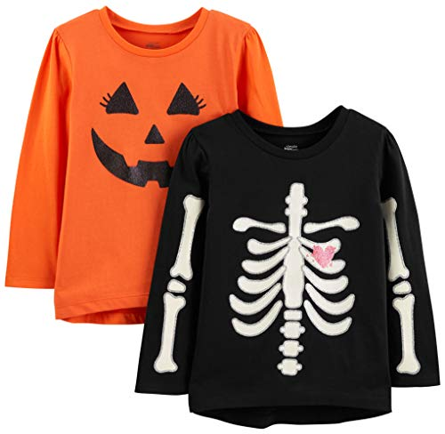 Simple Joys by Carter's Girls' Toddler 2-Pack Halloween Long-Sleeve Tees, Pumpkin/Skeleton, 2T