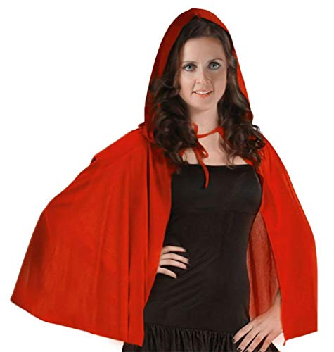 Rimi Hanger Womens Red Velvet Cape Girls Fancy Dress Book Week Party Hooded Cape Accessory 48 Inches ()