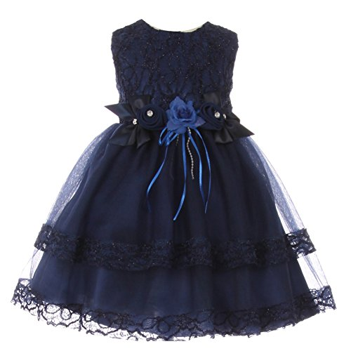 Baby Girls Navy Lace Trim Double Layered Tulle Flower Girl Dress 6M
