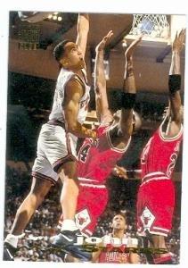 John Starks basketball card (New York Knicks) 1993 Topps Stadium Club #116 The Dunk
