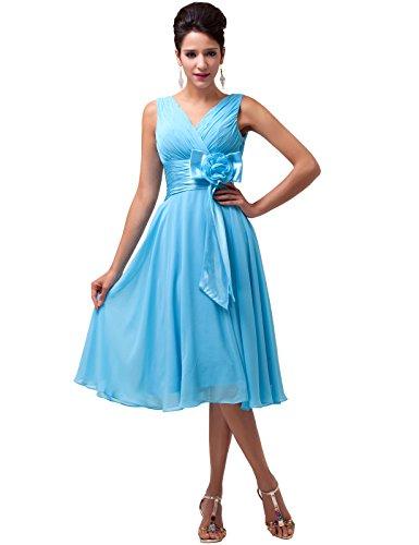 Grace Karin® Short Deep V-Neck Chiffon Evening Ball Party Dress CL6015