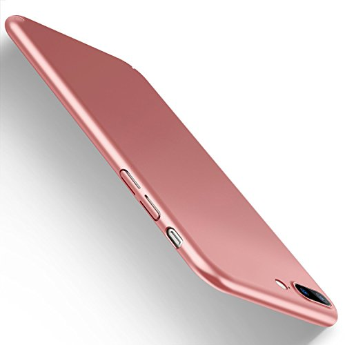 Ultra Thin Glass (iPhone 7 Plus Slim Case,iPhone 8 Plus Case[with Tempered Glass Screen Protector] [Ultra-Thin] [Anti-Scratch] [Shock Proof Protective]Hard Plastic Cover Case For Apple iPhone 7 Plus(Rose gold 5.5