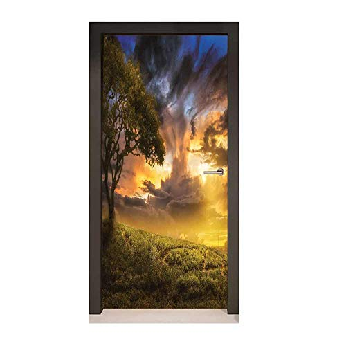 Homesonne Tree 3D Door Wallpaper Dreamy Landscape Sunset at Hill Clouds Mystery Contemplation Tranquil Wisdom Modern Art Green Yellow Blue,W17.1xH78.7