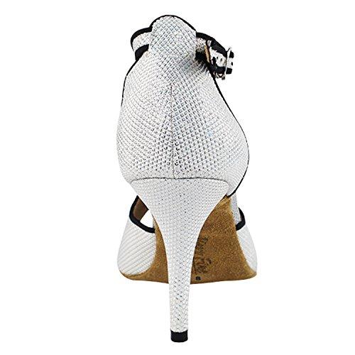 Gouden Duiven Schoenen Feest Feest 2825ledss Comfort Avondjurk Pump Sandalen, Dames Ballroom Dansschoenen (2.75, 3 & 3.5 Hoge Hakken) 2825l- Wit Glitter Satijn