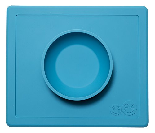 (ezpz Happy Bowl - One-Piece Silicone placemat + Bowl (Blue) )