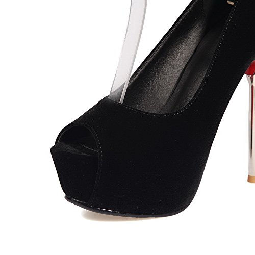 VogueZone009 Women's High-Heels Frosted Solid Elastic Peep Toe Sandals Black VE4Rb