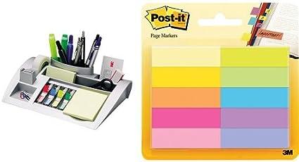 Post-it - Pack organizador de mesa plateado + 10 marcapáginas de ...