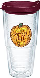 Tervis 1234374 Happy Fall Y'all Tumbler with Emblem and Maroon Lid 24oz, Clear