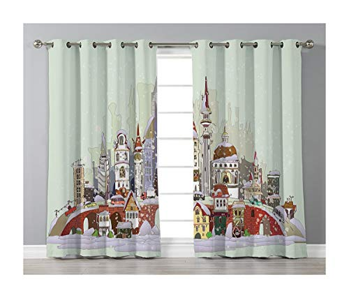 (Goods247 Blackout Curtains,Grommets Panels Printed Curtains for Living Room (Set of 2 Panels,42 by 63 Inch Length),Christmas)