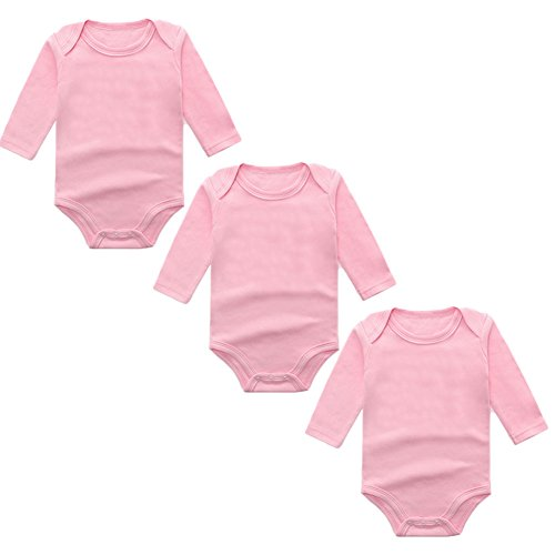 (3-Pack Long Sleeve Bodysuits for Infant Girls Boys, (0-3 Months, Pink))