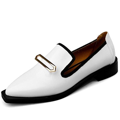 Nine Seven Cuero Moda Puntiagudos Loafer Zapatos de Vestir para Mujer blanco