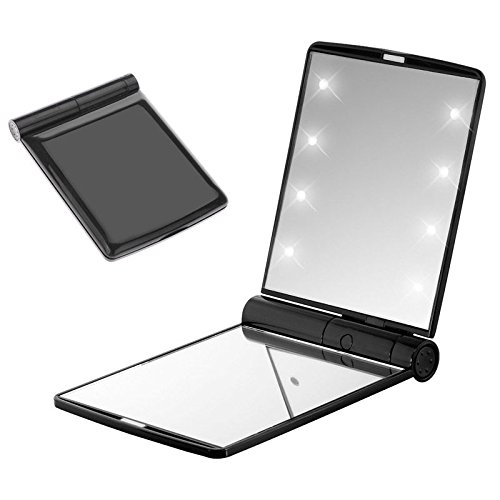 Pocket Makeup Mirror With LED Light (Black) - 9