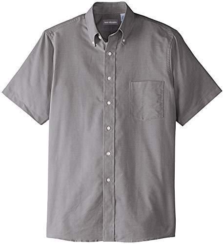 Van Heusen Men's Short Sleeve Oxford Dress Shirt, Grey Stone, 4X-Large (4x Mens Shirts Dress)