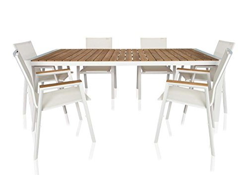 UrbanMod Outdoor Santino 7 Piece Dining Set White
