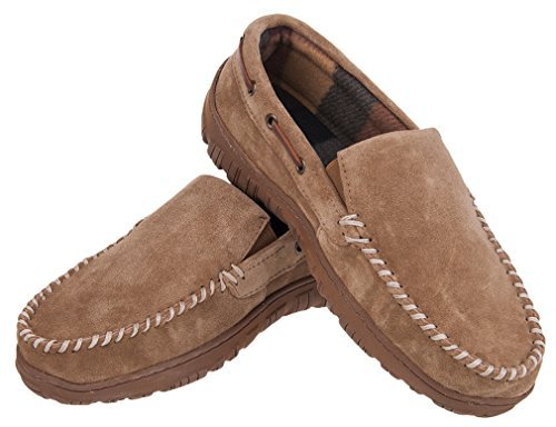 ush Lining Winter Warm Indoor Outdoor Slip On Driving Loafers Rubber Sole Moccasins Slippers Shoes (8 M US Men, Cowhide Leather Light Brown) ()